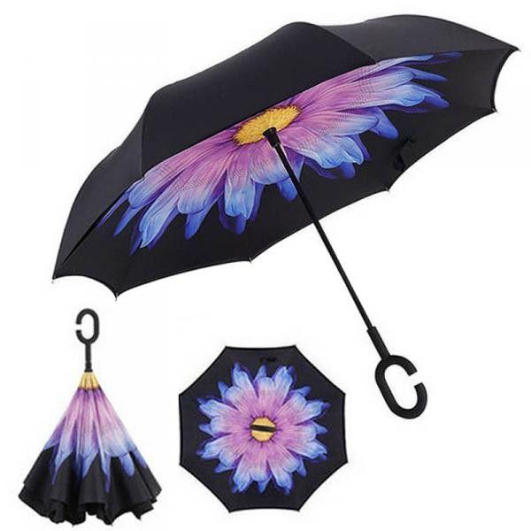 Зонт наоборот (Обратный зонт) Фиолетовый цветок