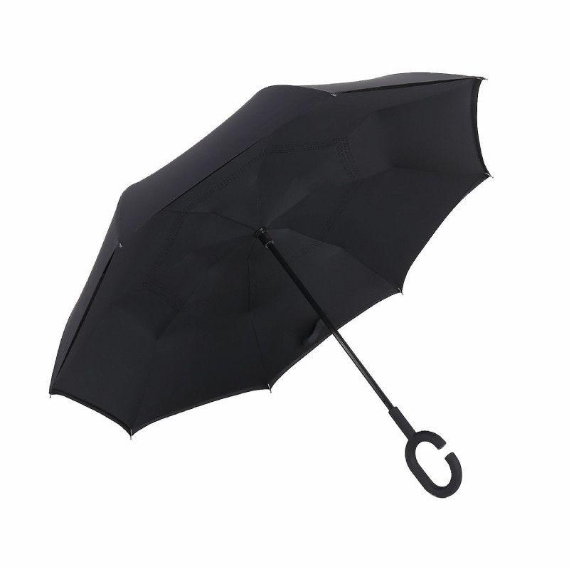 Зонт наоборот (Обратный зонт) Чёрный однотонный