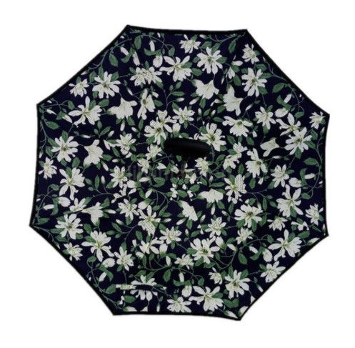 Зонт наоборот (Обратный зонт) Чёрный с лилиями