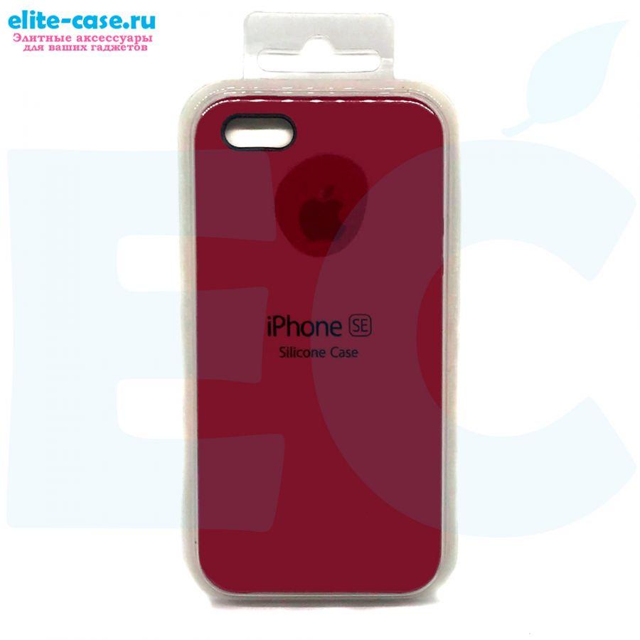 Чехол Silicon Case для iPhone 5/5S/SE малиновый