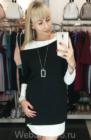 Платье 2в1 белое платье и черная туника