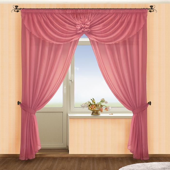 Комплект штор № 022, (250*250)х2(145*510) брусника