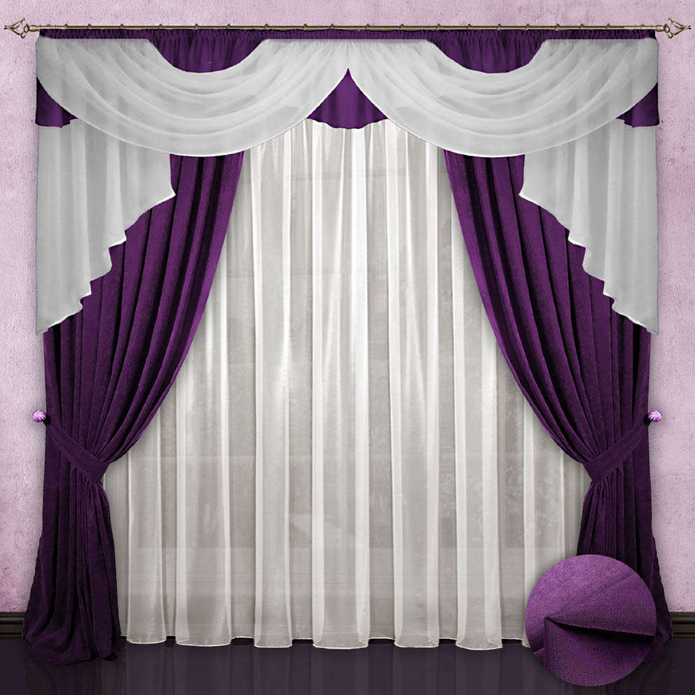 Комплект штор № 033, 260*500,(260*150)*2,(140*700), фиолетовый