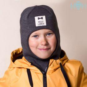 ШД20-66221747 Шапка-шлем демисезонный с нашивкой Hello ladies, темно-серый