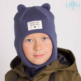 ШД20-68851740 Шапка-шлем демисезонный с маленькими ушками и нашивкой Жду твой лайк, индиго