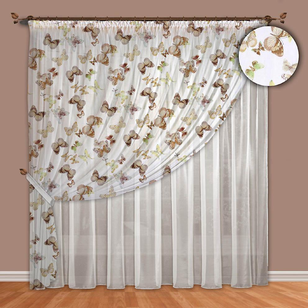 Комплект штор № 089, (270*400)х2 бабочки(вуаль-печать)