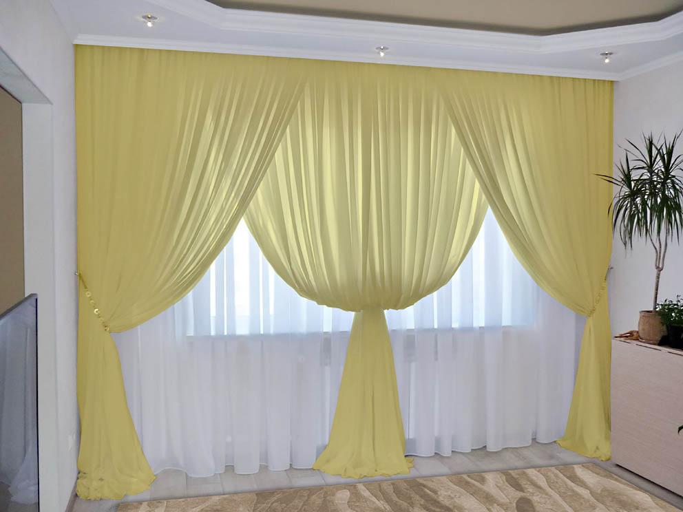 Комплект штор № 092, (270*200)х2(270*400) пастельно-желтый(вуаль)