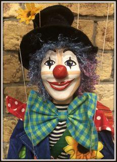 Кукла-марионетка Клоун  - Klaun  (Чехия, Praha, Hand Made, авторы  Ивета и Павел Новотные)