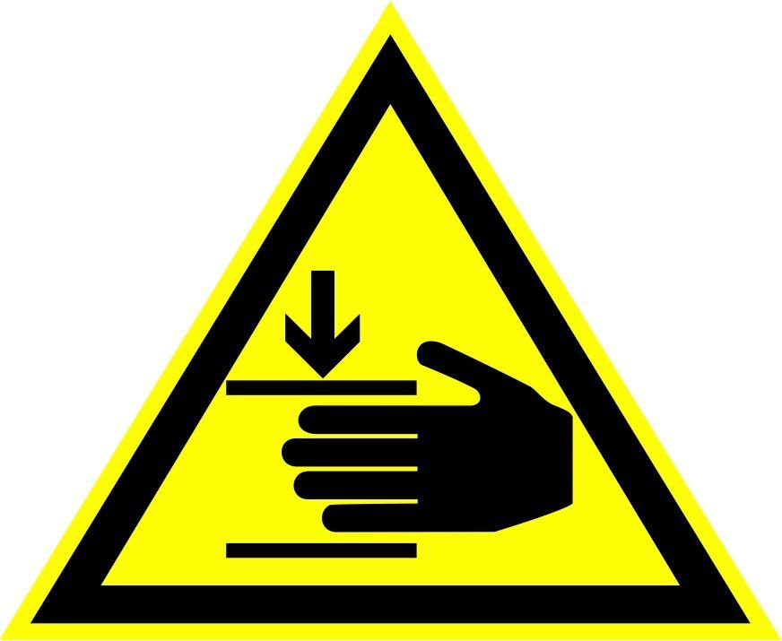 """W27 """"Осторожно. Возможно травмирование рук"""""""