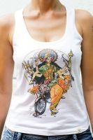 Белая майка (топ) для йоги с индийской богиней Дургой, купить в Москве
