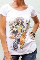 Белая футболка для йоги с индийской богиней Дургой, купить в Москве