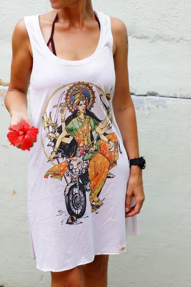 Эксклюзив! ПОСЛЕДНЕЕ Трикотажное платье с индийским божеством Дурга (Москва)
