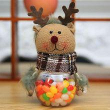 Новогодняя пластиковая банка для конфет с игрушкой, Олень