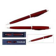 Ручка шариковая металлическая в футляре, синие чернила, бордовый корпус (арт. s 2821)