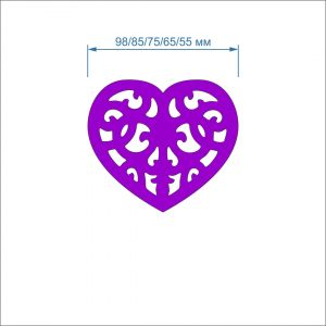 Заготовка ''Сердце ажурное'' , фетр 1 мм (1уп = 5наборов)