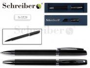 Ручка шариковая в футляре, черный цвет корпуса, синие чернила (арт. S 3529)