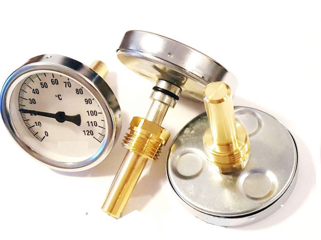 Термометр биметаллический осевой, 0-120 гр.С., погружная гильза из латуни.