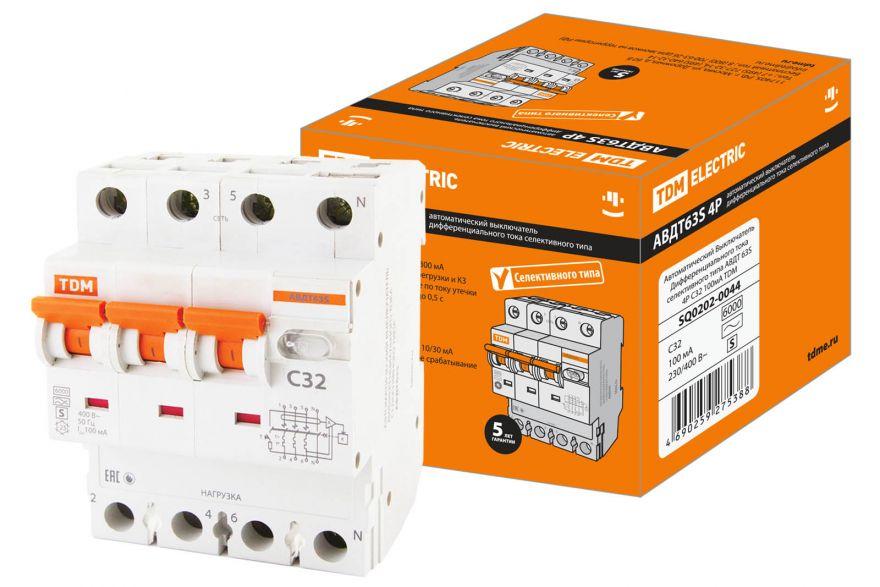 Дифференциальный автоматический выключатель TDM АВДТ63S SQ0202-0050