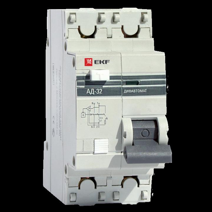 EKF PROxima диф. автомат АД-32 1P+N 25А/100mA хар-ка C, УЗО типа AC, электрон. 4,5кА DA32-25-100-pro