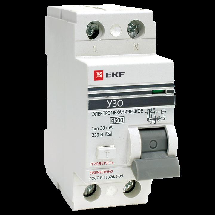 EKF PROxima устройство защитного отключения УЗО 2P 16А/30мА (электромех.) 4,5кА elcb-2-16-30-em-pro