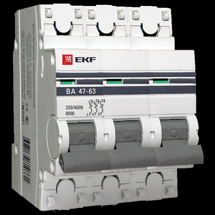 Автоматический выключатель ВА47-63 6кА, 3P 25А (C) EKF PROxima