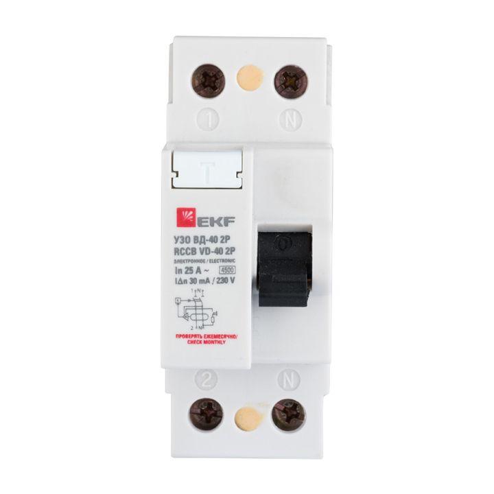 EKF Basic устройство защитного отключения УЗО 2P 16А/30мА (электрон.) 4,5кА ВД-40 elcb-2-16-30e-sim