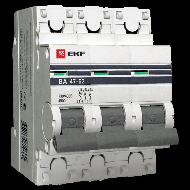 EKF PROxima автоматический выкл. ВА47-63 3P 50А 4,5kA х-ка С mcb4763-3-50C-pro (с опломбировкой)
