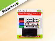 Набор маркеров для белой доски, 4 шт, с губкой в блистере 17,5х21 см (арт. S 3630)