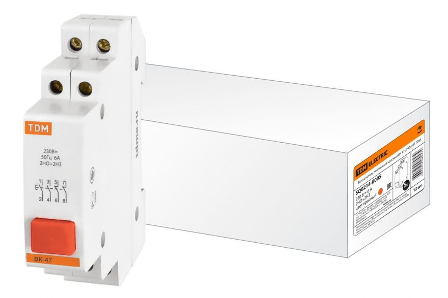 Выключатель кнопочный на DIN-рейку TDM ВК-47 SQ0214-0005