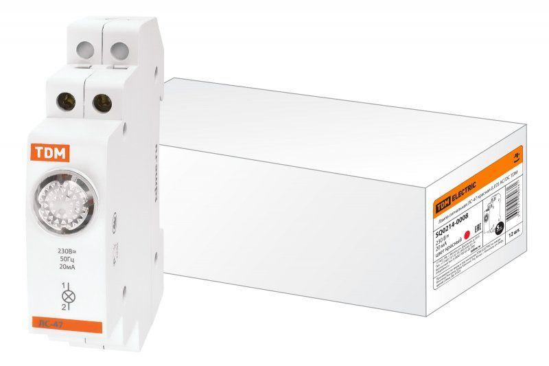 Лампа сигнальная на DIN-рейку TDM ЛС-47 SQ0214-0008