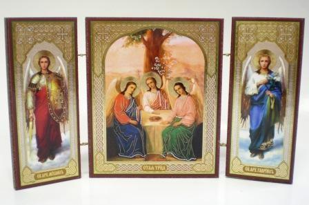 """Складень тройной на дереве - икона """"Святая Троица"""""""