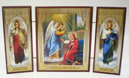 """Складень тройной на дереве - икона """"Благовещение Пресвятой Богородицы"""""""