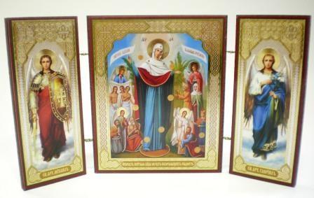 """Складень тройной на дереве - икона Пресвятой Богородицы """"Всех скорбящих Радость"""""""