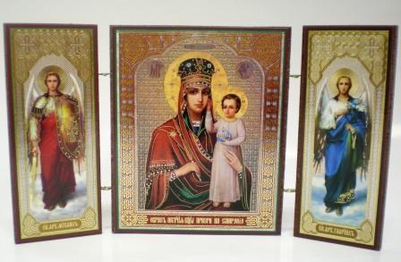 """Складень тройной на дереве - икона Пресвятой Богородицы """"Призри на смирение"""""""