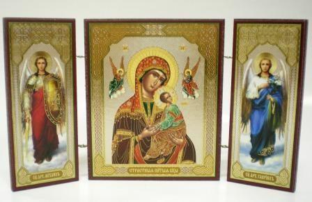 """Складень тройной на дереве - икона Пресвятой Богородицы """"Страстная"""""""