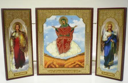 """Складень тройной на дереве - икона Пресвятой Богородицы """"Спорительница хлебов"""""""