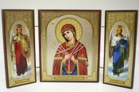 """Складень тройной на дереве - икона Пресвятой Богородицы """"Умягчение злых сердец"""""""