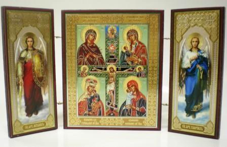 """Складень тройной на дереве - икона Пресвятой Богородицы """"Четырёхчастная"""""""