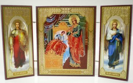 """Складень тройной на дереве - икона Пресвятой Богородицы """"Целительница"""""""