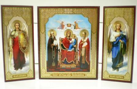 """Складень тройной на дереве - икона Пресвятой Богородицы """"Экономисса"""""""