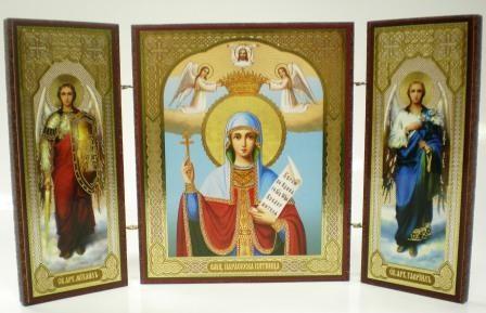 """Складень тройной на дереве - икона """"Великомученица Параскева Пятница"""""""