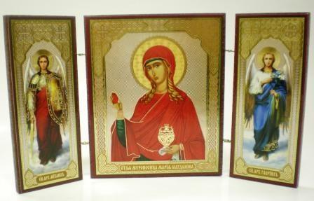 """Складень тройной на дереве - икона """"Святая мироносица Мария Магдалина"""""""