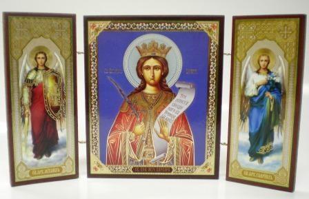 """Складень тройной на дереве - икона """"Святая великомученица Варвара"""""""