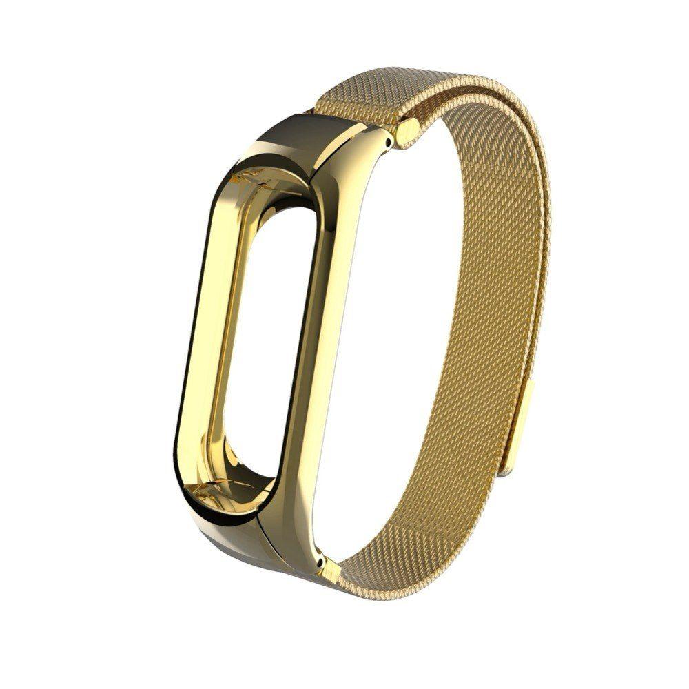 Сменный металлический ремешок для Mi Band 3 (Желтое Золото / Магнитная застёжка)