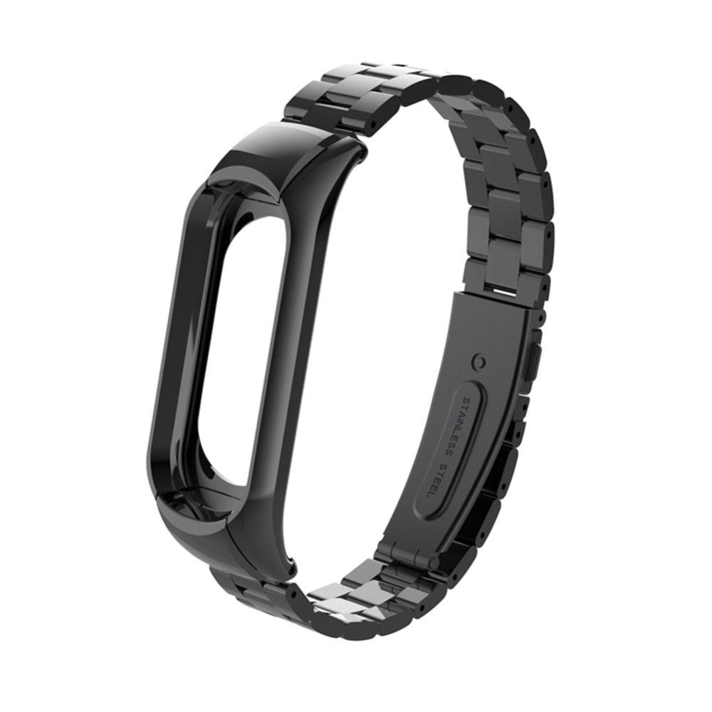 Металлический ремешок для Xiaomi Mi Band 3 (Черный)