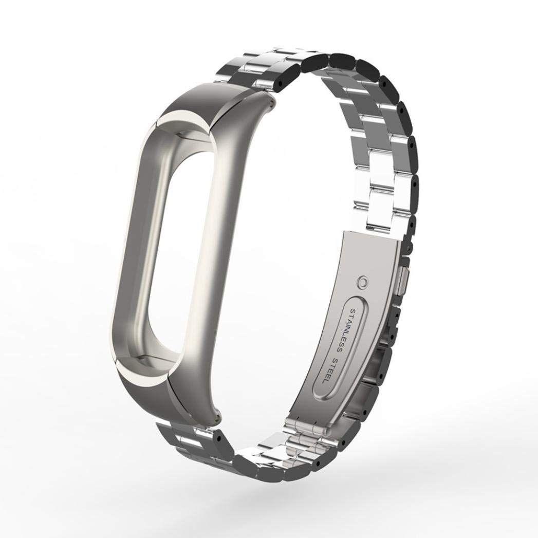 Металлический ремешок для Xiaomi Mi Band 3 (Серебро)