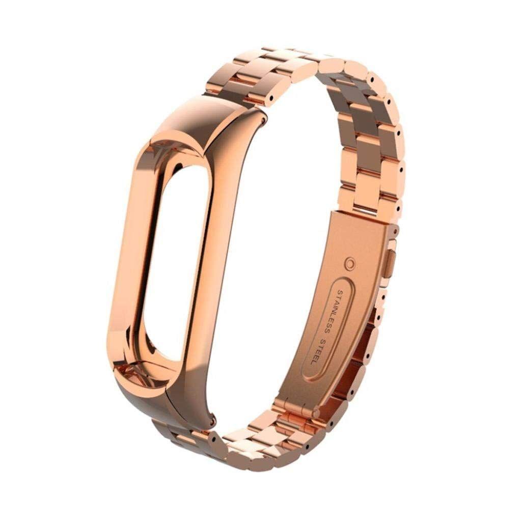 Сменный металлический ремешок для Mi Band 3 (Розовое Золото)