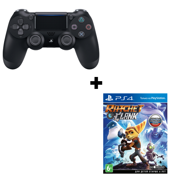Геймпад Sony Dualshock 4 (ver.2) Black (PS4) + игра Ratchet & Clank