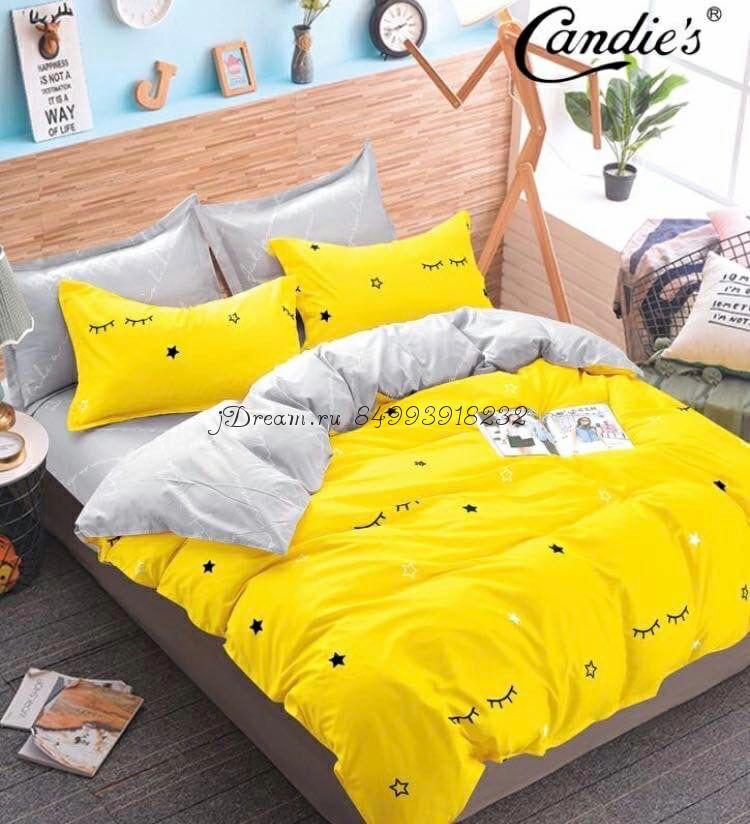 """Комплект постельного белья на резинке Candi`s """"Yellow eyes"""""""