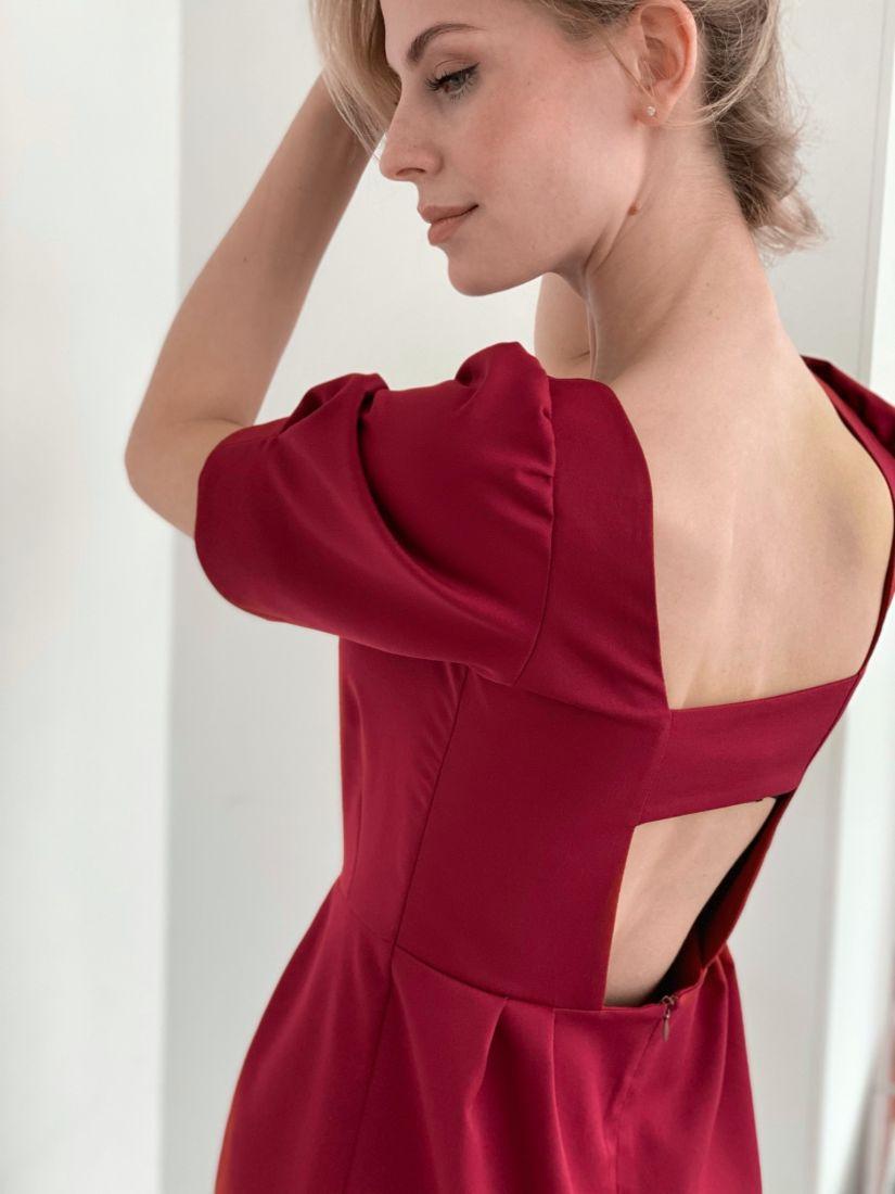 """3904 Платье с открытой спинкой в цвете """"красная груша"""""""